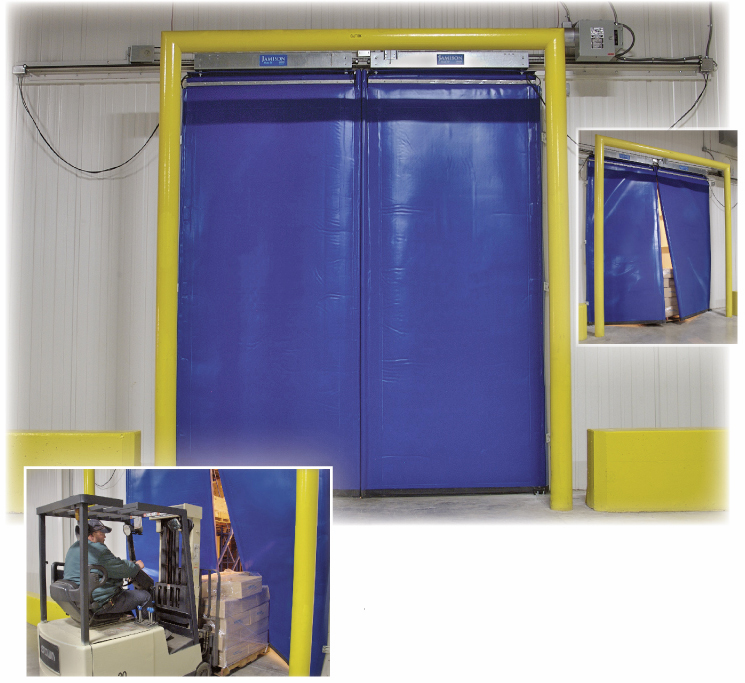 versaflex bi-parting high speed hittable flexible cold storage door high speed